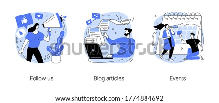 Corporate website links abstract concept vector illustration set. Follow us, blog articles, events, social media, subscribe for newsletter, publications, company page, notification abstract metaphor.