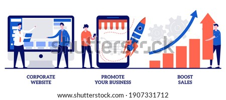 Corporate website, promote your business, boost sales concept with tiny people. Business management vector illustration set. Startup lunch, sales and profit increasing, company webpage metaphor. Stock foto ©