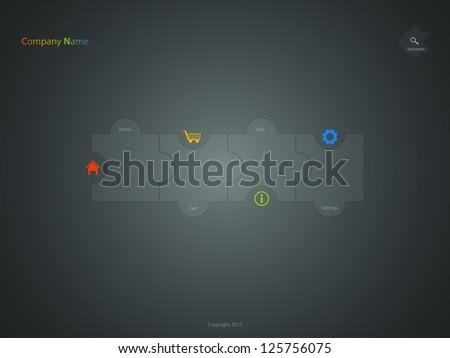 corporate website template, creative jigsaw puzzle design