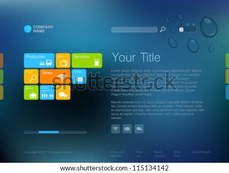 Corporate Website template. Creative web Multifunctional Media design. Mobile interface. Vector. Editable. - stock vector