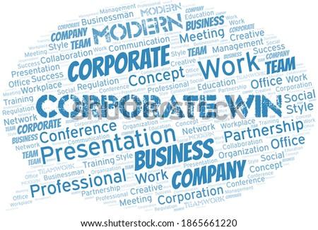 corporate win vector word cloud