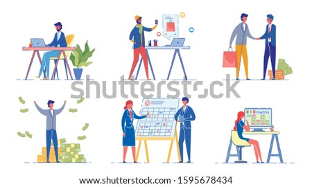 Corporate Workers Flat Vector Illustrations Set. Analyst, Marketer, Project Manager Working Isolated Design Elements Pack. Successful Rich Businessman Cartoon Character. Office Employees Collection
