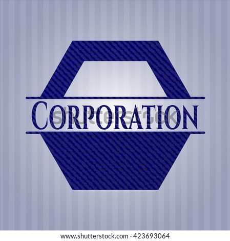 Corporation badge with jean texture