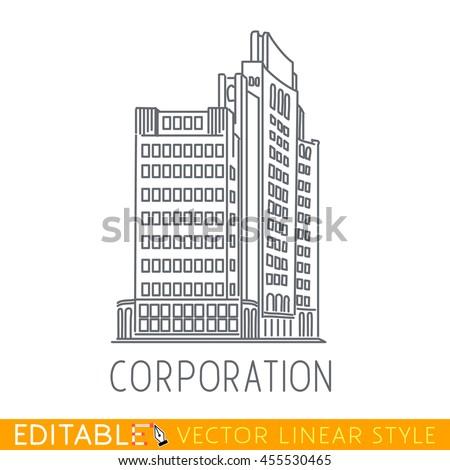 Corporation. Business building of big company. Sketch line flat design of commerce architecture. Modern vector illustration concept.