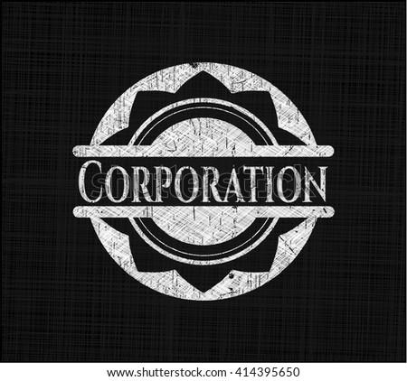 Corporation chalkboard emblem on black board