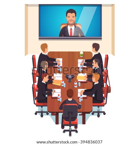 Corporation directors board at the conference call meeting with CEO at the video call projection screen. Flat style color modern vector illustration.