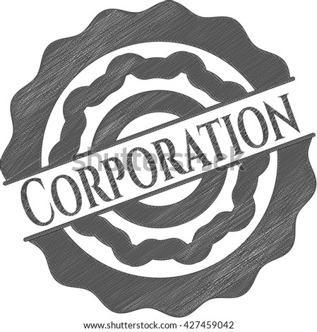 Corporation emblem draw with pencil effect