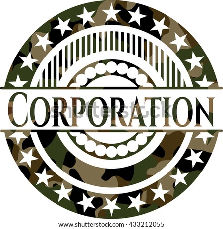 Corporation on camouflaged texture