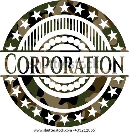 Corporation on camouflaged texture