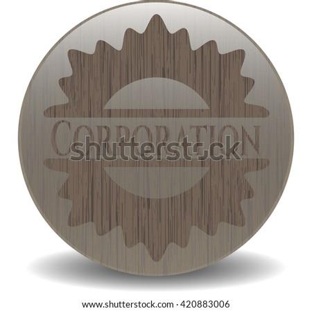 Corporation wood icon or emblem