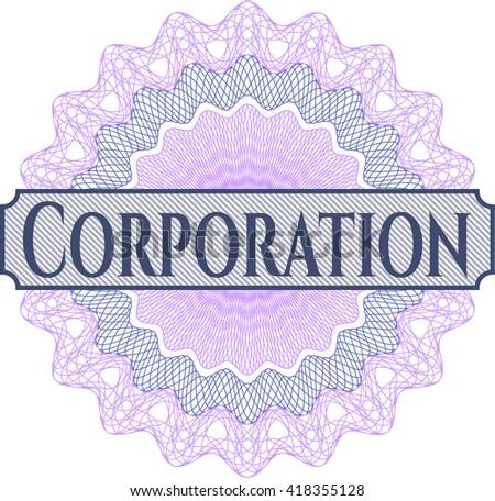 Corporation written inside abstract linear rosette