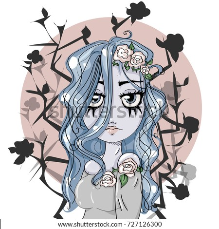 Corpse bride cartoon cute girl character, Halloween style blue hair zombie woman portrait with dead roses background, vector illustration art