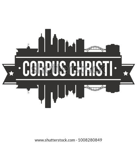 Corpus Christi Texas USA Skyline Silhouette Design City Vector Art Famous Buildings Stamp