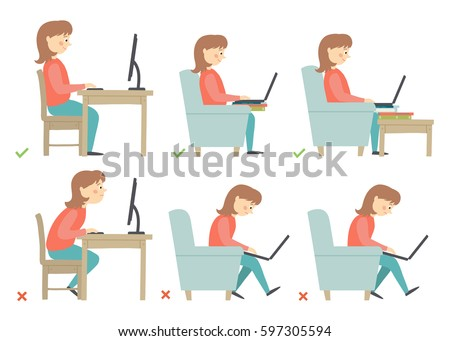 Correct and Incorrect Activities Posture in Daily Routine - Sitting and Working with a Computer. Cartoon vector hand drawn eps 10 illustration isolated on white background in flat style.