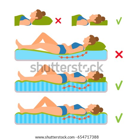 Correct and incorrect curvature of the spine in various mattresses. Orthopedic mattress and pillow. Woman lies on her back, seen from side. Caring for health of back, neck. Comparative illustration.