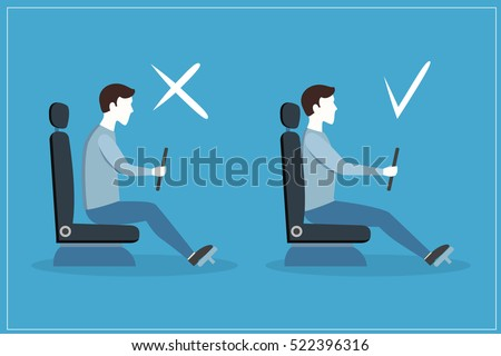 Correct and Incorrect Driving Position on Blue Flat Design Style Set. View Of The Driver Of The Car In Profile. Vector illustration