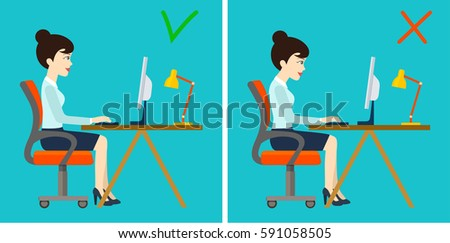 Correct and incorrect sitting posture at computer. Vector flat illustration