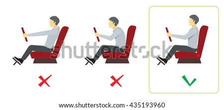 Correct and incorrect spine posture for driver. Infographics. Vector illustration