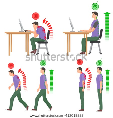 Correct and uncorrect bad sitting and walking position. Back pain feeling and spinal injuries.