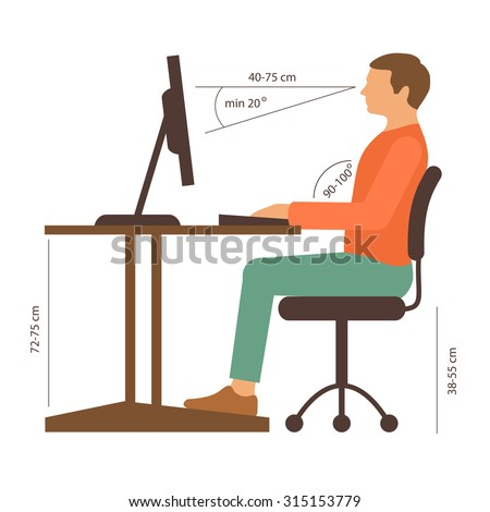 correct back sitting position, vector illustration, posture
