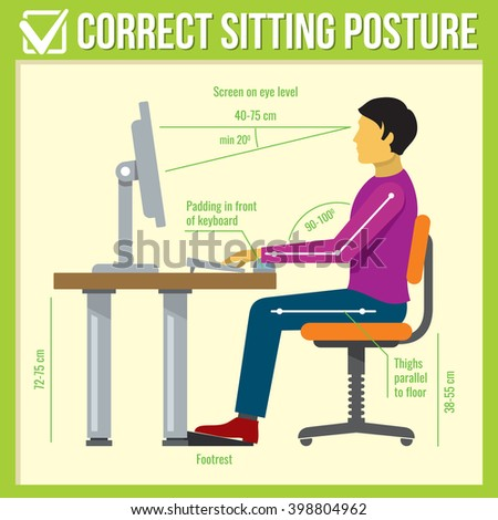 Correct health sitting posture body in infographics style. Vector illustration