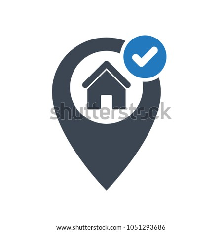 Correct house location icon. Address icon with check sign. Address icon and approved, confirm, done, tick, completed symbol. Vector icon