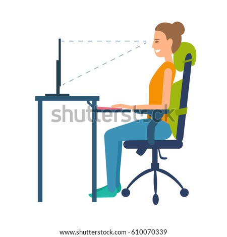 Correct position sitting at table. Ergonomic orthopaedic pillow under lower back and neck. Right posture for a healthy back. Support back and head. Vector illustration set isolated on white.