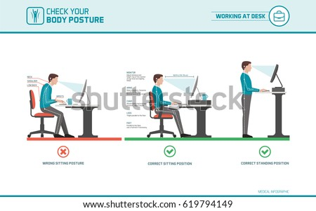 correct sitting at desk posture