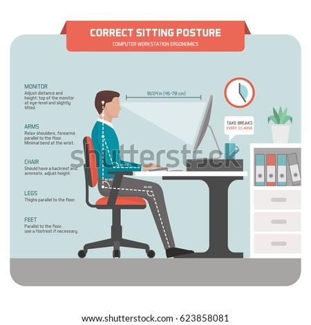 correct sitting at desk posture