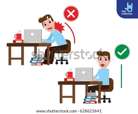 Correct sitting posture And incorrect.Disease back pain.Medical healthcare concept.Vector flat icon Businessman cartoon design illustration