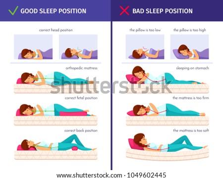 Correct sleeping cartoon compositions set with flat human characters of sleeping woman and proper sleep positions vector illustration