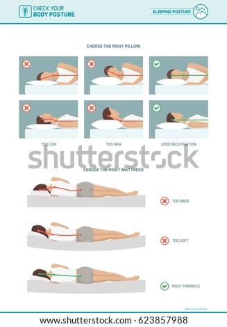Correct sleeping ergonomics and body posture, mattress and pillow selection infographic