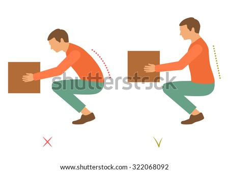 correct spine posture, bad lifting position, back pain,  vector illustration