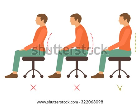 correct spine posture, bad sitting position, back pain, vector illustration