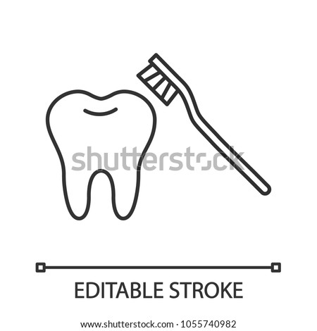 Correct teeth brushing linear icon. Thin line illustration. Tooth with toothbrush. Contour symbol. Vector isolated outline drawing. Editable stroke #1055740982
