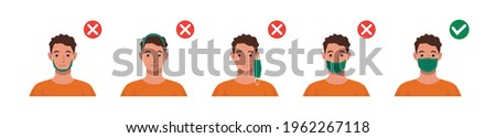 Correct ways to wear face mask. How to wear your mask properly. Mistakes people make when wearing mask vector illustration. Foto stock ©