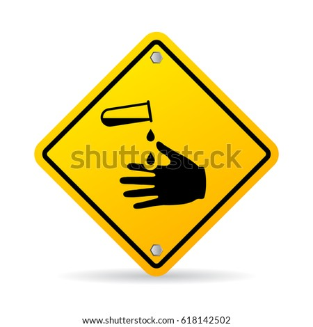 Corrosive chemicals danger warning vector sign on white background