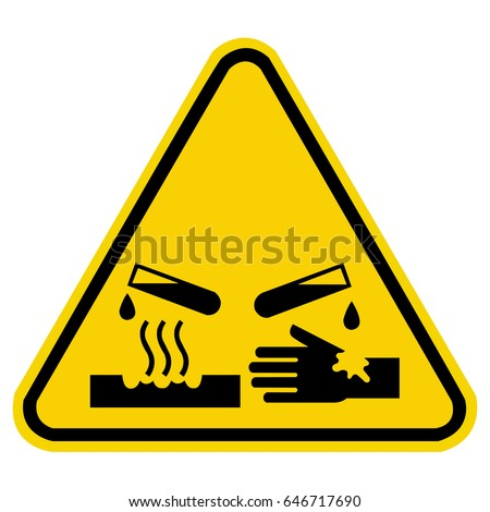 corrosive warning sign, chemical hazard sign