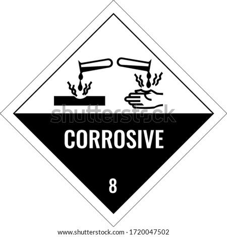 Corrosive warning sign, warning symbol, stock vector ストックフォト ©