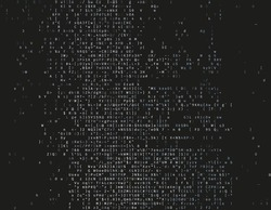 Corrupted source code. Modern vector illustration about computer security. Abstract ascii glitch background. Fatal programming error. Buffer overflow problem. Random signal error. Element of design.