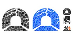 Corrupted tunnel mosaic of round dots in various sizes and color tints, based on corrupted tunnel icon. Vector round dots are united into blue illustration.