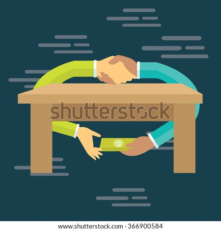 corruption bribe people hand over money under table transaction gratification Foto stock ©