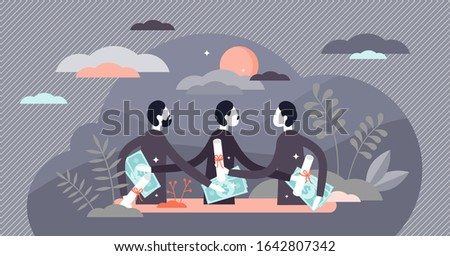 Corruption concept, flat tiny persons vector illustration. Government workers and commerce businessman secretly exchanging money and profitable deals. Criminal activity inside national institutions. Foto stock ©