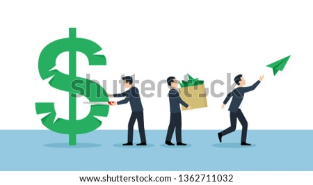 Corruption concept - people group sawing dollar sign - financial leakage isolated illustration