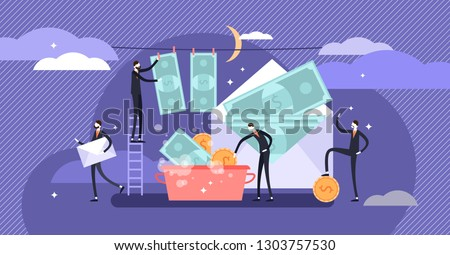 Corruption vector illustration. Flat tiny persons cash money laundering concept. Finance economical crime with tax payment. Illegal criminal process in offshore. Dishonesty and unfair oligarchies.