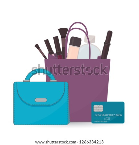 Cosmetic accessories and perfume in shopping bag, purse and credit card on  white. Purchases d08092640b