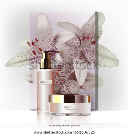Cosmetic ads, spray bottles and cream isolated on the background of the poster with flowers. Vector illustration.