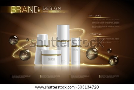 Cosmetic ads template, blank cosmetic mockup with sparkling effect. Product information and translucent liquid ball around the bottles. 3D illustration.