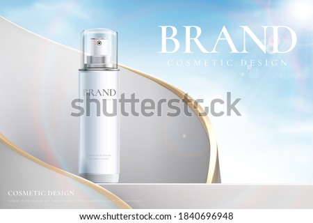 Cosmetic ads template, 3D illustration cosmetic mockup upon a stage against surreal sky background and sunlight