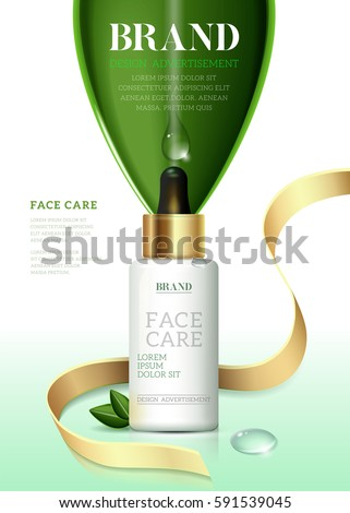 Cosmetic ads template, Moisture essence based oil Green tea. Skin care cosmetic essence, Vector illustration for cosmetic ads or magazine